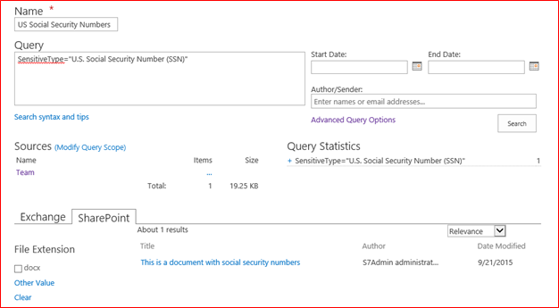 Configuring SharePoint 2016 Sensitive Information