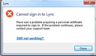 Win Lync Certificate Error