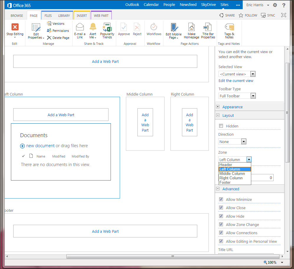 Web Part Advanced Options Disabled in SP2013