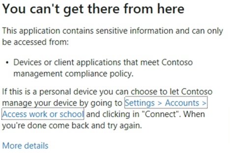 Teams GCC High Conditional Access Message