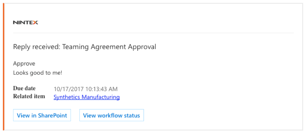 Nintex approvals for NDA and TA processing